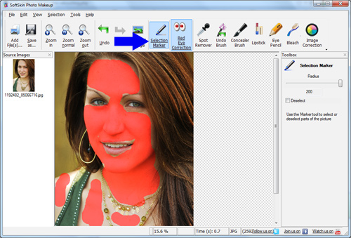 select the skin area with Marker tool.