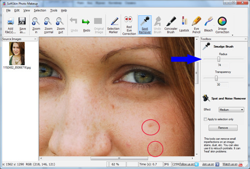 remove spots with photo touch up sofware