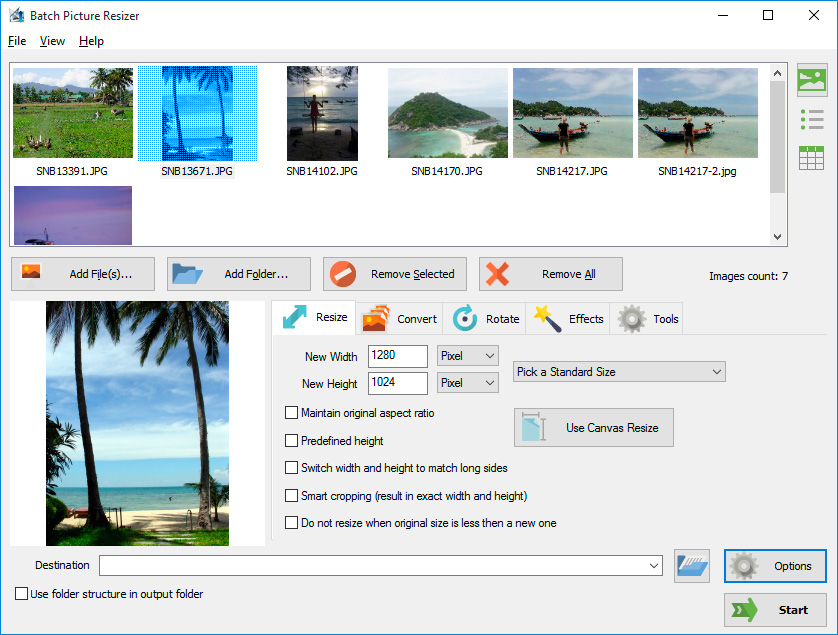 Converting PNG to JPG and more with the Batch Picture Resizer software screenshot