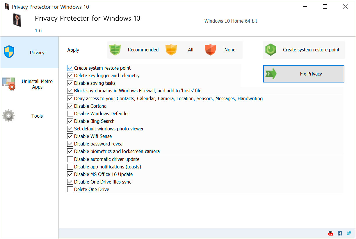 Privacy Protector for Windows 10 Capturas de pantalla