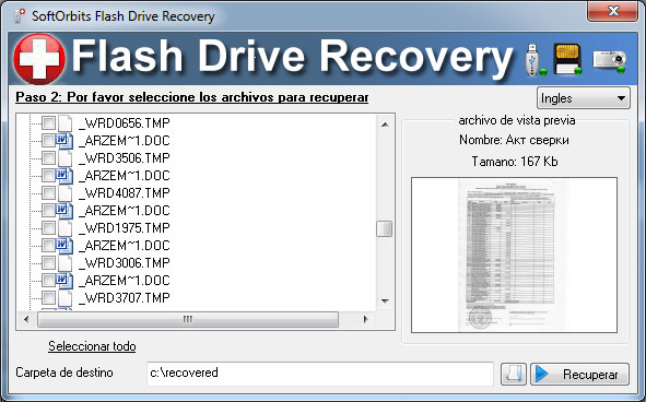 Recuperar datos con SoftOrbits Flash Drive Recovery